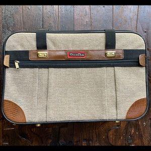 OSCAR DE LA RENTA Vintage Brown Tweed Suitcase EUC